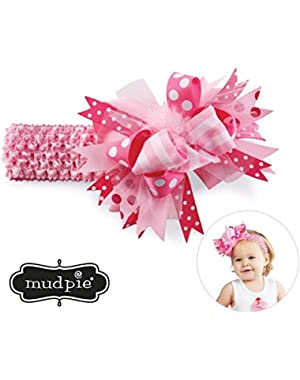 Baby-Girls Maribou Soft Crochet Bow Mesh Headband