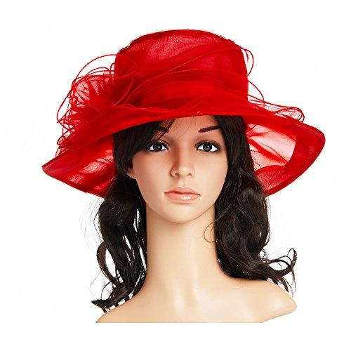 - Women's Kentucky Derby Hat,Summer Fascinator Flowers Wide Brim Organza Church British Tea Party Wedding Dress Cap,Red