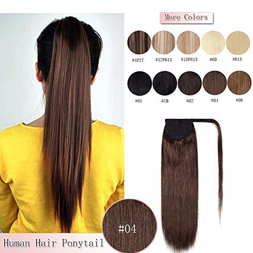 - 100% Remy Human Hair Ponytail Extension Wrap Around One Piece Hairpiece With Clip in Comb Binding Pony Tail Extension For Girl Lady Women Long Straight #4 Medium Brown 20'' 95g