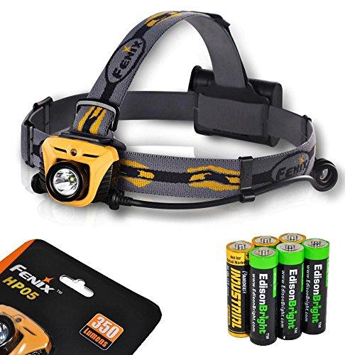 Fenix HP05 350 Lumen CREE XP-G R5 LED Headlamp (Orange) with six AA Alkaline batteries including three EdisonBright AA batteries