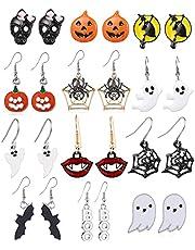 12 Pairs Halloween Stud Earrings Halloween Drop Dangle Earrings for Women Halloween Jewelry Set Gifts for Women Girls (12 Pairs)
