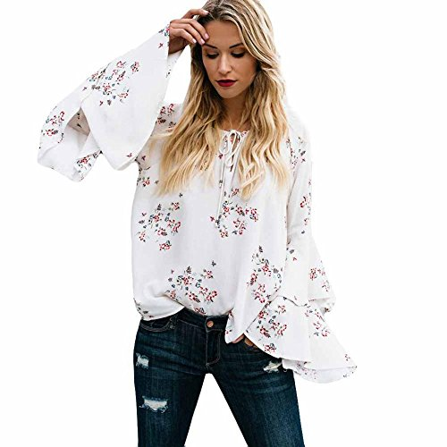 WEUIE Women Tops Clearance Sale! Womens Long Sleeve Fashion Print Pagoda Sleeve T-Shirt Blouse Tank Tops (Couture Dolman Sleeve)