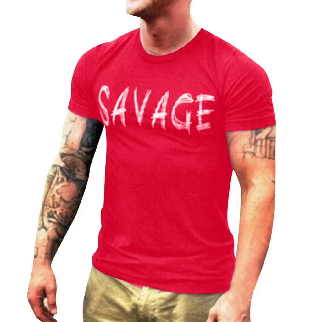 Men T-Shirt Short Sleeve Casual Fashion Shirt Letter Print Top Blouse (S, Red)
