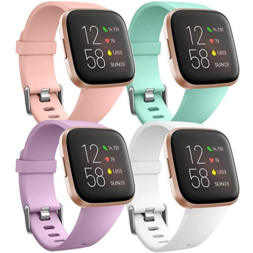 Ouwegaga Pack 4 Silicone Sport Replacement Strap Compatible with Fitbit Versa Strap/Fitbit Versa Lit