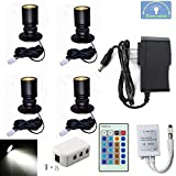 1.5W 12VDC Dimmable LED Mini Spotlight Jewelry Showcase Display Lights Black Shell Surface Mount with Wireless IR Dimmer (Pack-4,Cold White)