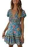 ZESICA Women's Summer Wrap V Neck Bohemian Floral Print Ruffle Swing A Line Beach Mini Dress Green: more info