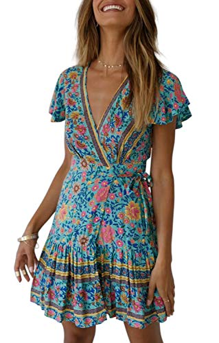 ZESICA Women's Summer Wrap V Neck Bohemian Floral Print Ruffle Swing A Line Beach Mini Dress Green (Best Dresses For Beach Vacation)