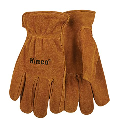 KINCO 50-L Men's Unlined Suede Cowhide Leather Drivers Gloves, Shirred Elastic Back, Large, Golden