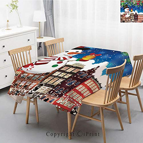 Plaid Decorative Linen Tablecloth With Tassel Oilproof Thick Rectangular Wedding Dining Table Cover Tea Table Cloth,40x60 Inch,Christmas,Snowman in the City Streets Urban Style Noel Downtown Wishes -