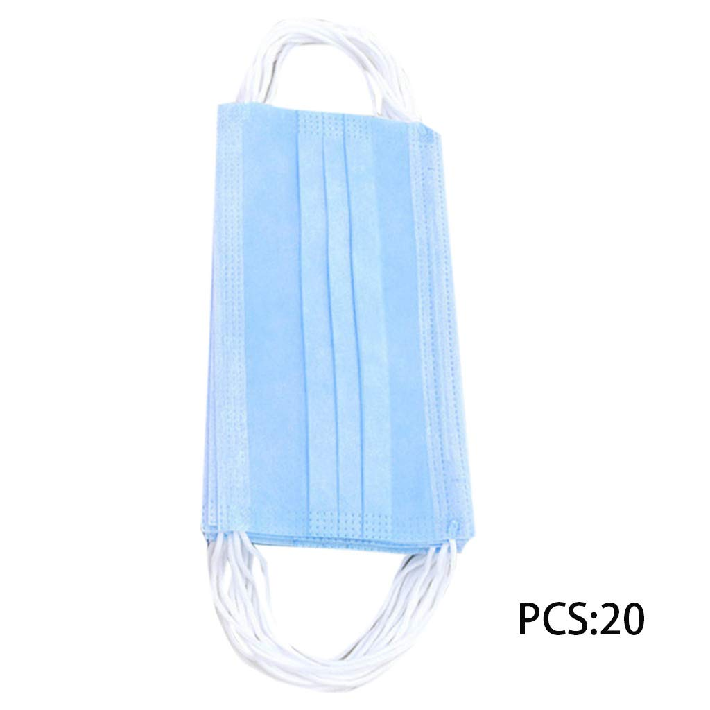 RingBuu Mouth Mask - 20Pcs Thickened 3 Layers Medical Mouth Mask Disposable Anti-Dust Solid Color Non-Woven Surgical Earloop Respirator 7 Colors