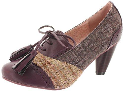 Dancing Days - Zapatos de vestir de Lona para mujer, color rojo, talla 38 EU