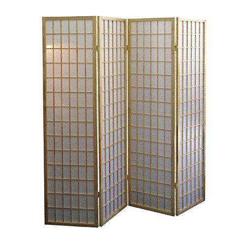 SINTECHNO S-AD531-4 4-Panel Shoji Natural Room Divider Folding Screen - 72' Room Divider