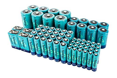 Tenergy High Capacity NiMH Rechargeable 68-cell battery package: 24AA/24AAA/8C/8D/4 9V by Tenergy