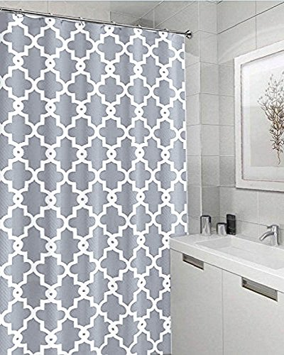 Shower Curtain, Geometric Patterned Waterproof and Mildew Resistant , 72 x 72 Inch with 12 Hooks (Pattern#1)