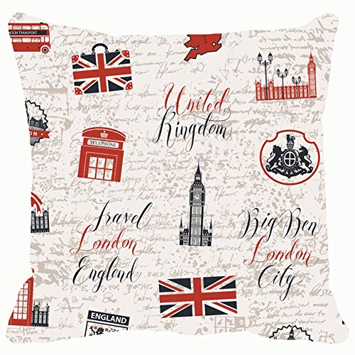 Double Cushion Booth - Throw Pillow Covers on UK London Decorative Cushion Case for Sofa Bedroom Car 18 X 18 Inch 45 X 45 cm
