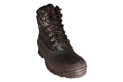 Men's Extra Wide Width Waterproof Black Leather Boots #3704