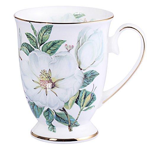Royal Fine Bone China Coffee Mug Assorted colors Tea Cup 11 oz (1, white) (Floral Coffee)