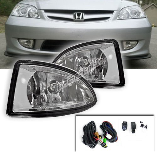 Remarkable Power FL7041 2004 2005 Honda Civic 2/4DR Clear Fog Light (04 Fog Light Kit)