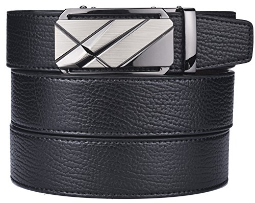 plyesxale Men's Leather Ratchet Dress Belt- Length is Adjustable - Delicate Gift Box (Waist Size:36-44'', Black Belt K120S10) by plyesxale
