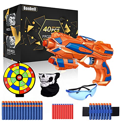 Bonbell Toy Gun for Kids, Nerf Blaster with Shooting Target, 40 Soft Foam Refill Darts, Wrist Band, Safety Goggle and Face Mask, Kids Shooting Game Toy, Best Xmas Birthday Gifts for Boys Girls 5-13