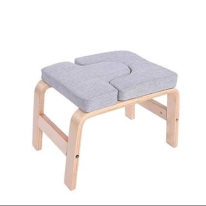 JGWHW Banco de soporte for la cabeza Patas de madera Silla de inversión de yoga con almohadillas de terciopelo de ante Soporte for entrenador de ...