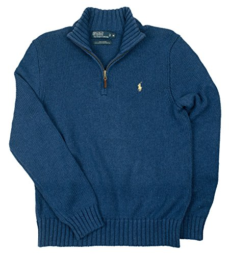 Polo Ralph Lauren Men's Half Zip Cotton Sweater, Shale Blue, M (Half Zip Sweater Blue)