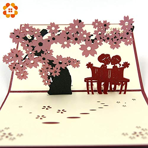 Erythrina Tree Mountainous House DIY 13 * 16CM Creative 3D Pop Up Greeting Cards & Gift Handmade Cards Cherry Tree with Lover Laser Cut for Valentine's Day Anniversary