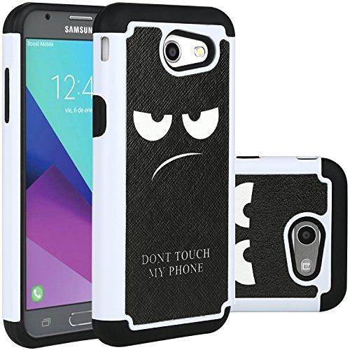 Galaxy J3 Emerge Case,J3 Prime/J3 2017/Amp Prime 2/Express Prime 2/Sol 2/J3 Luna Pro/J3 Eclipse/J3 Mission Case, LUHOURI Hybrid Armor Rugged Defender Protective Case Cover Black