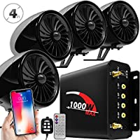 GoldenHawk 1000W 4 Channel Amplifier 4 Full Range Waterproof Bluetooth Wireless Motorcycle Stereo Speakers Audio Amp System w/AUX, USB, SD, FM Radio for Harley Touring Cruiser Can-Am ATV (BLK-1000W)