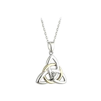 Amazon failte celtic trinity knot necklace silver 10k gold failte celtic trinity knot necklace silver 10k gold diamond aloadofball Image collections