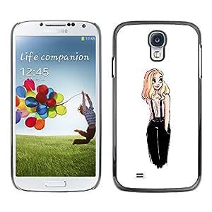 Shell-Star Arte & diseño plástico duro Fundas Cover Cubre Hard Case Cover para SAMSUNG Galaxy S4 IV / i9500 / i9515 / i9505G / SGH-i337 ( Sweet Cute Girl White Blonde Drawing )