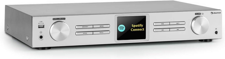 Auna iTuner 320 BT sintonizador Digital HiFi - con Bluetooth, Spotify Connect, Control por App, Internet-, sintonizador Dab+ y FM, DLNA & UPnP, Conector USB, Reproductor de Red, Plateado