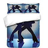 iPrint 3Pcs Duvet Cover Set,70s Party Decorations,Couple Silhouettes on The Dance Floor Night Life Oldies Fun,Blue Purple Black,Best Bedding Gifts for Family/Friends