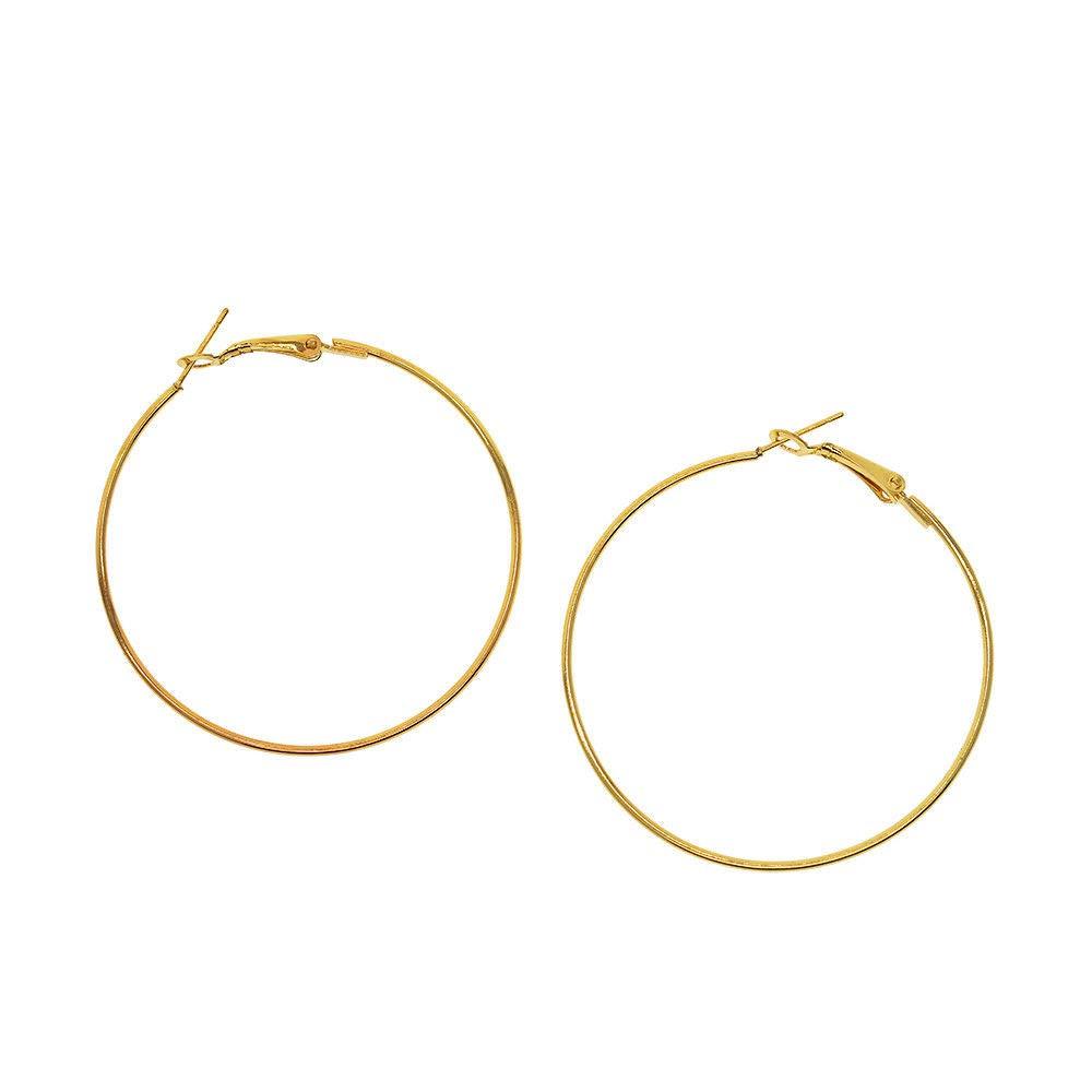 ERAWAN Fashion Women/Girls Gold Silver Metal Smooth Big Large Hoop Earrings Jewelry EW sakcharn (8cm, Gold)
