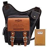 KAUKKO Vintage Leather Book Bag Flexible Messenger Bag for Mens Womens Black