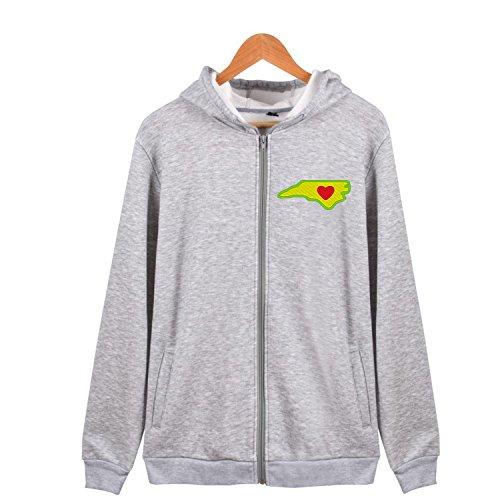 Heart in North Carolina Zip-Up Jersey Hoodie Long Sleeve Outwear Sweatshirt Jacket ()