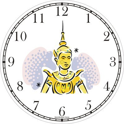 Buddhist - Thai Sawasdee Angel - Peace Deva Wall Clock by WatchBuddy Timepieces (White Frame) by WatchBuddy