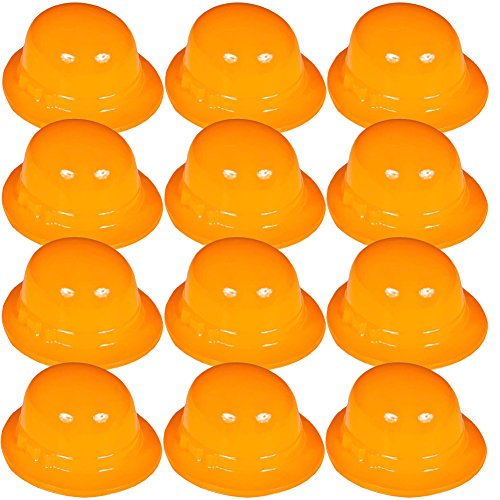 [12 Plastic Party Hats - Party Hat Set Costume Hats by Dozen by Funny Party Hats (Orange Derby Hats - 12] (Orange Hat Costume)