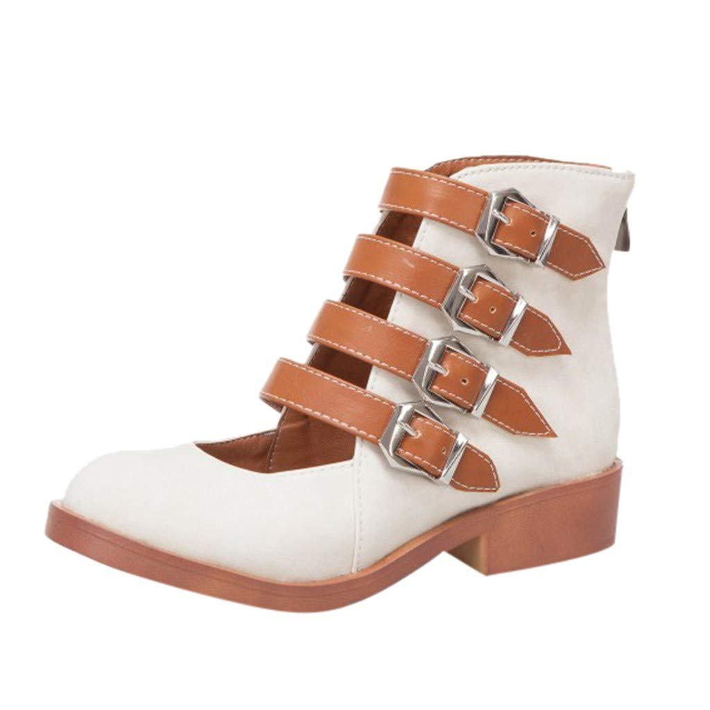 Womens Ankle Boots Buckle Strap Heel Back Zipper Square Heel Solid Color Vintage Western Sandals Plus Size (Beige, 7.5)