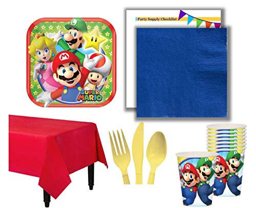 (Super Mario Themed Birthday Party Pack for 16 Guests | Includes Plates, Napkins, Tableware, Beverage Cups, and Plastic Table Cover | Perfect Bundle for Your Video Gamer)