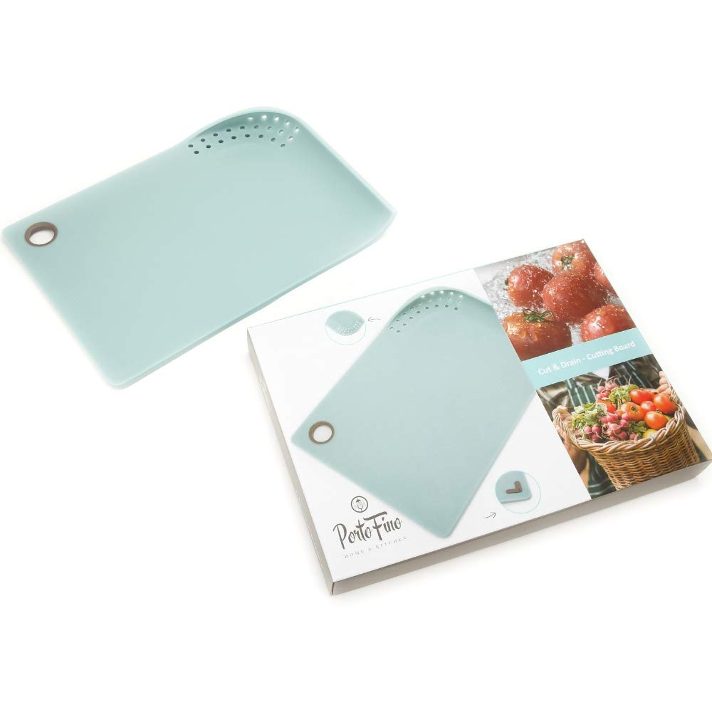 PortoFino Cut & Drain Cutting Board - Chopping Board | 22 Draining Eyelets | Non-Slip Silicone Feet | Hanging Loop | Light Weight & Durable | Food Grade Plastic | BPA Free | Kitchen Prep Accessories