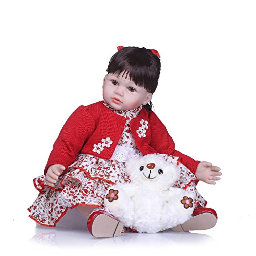 Nicery Reborn Baby Doll Soft Simulation Silicone Vinyl 24inch 60cm Magnetic Mouth Lifelike Vivid Boy Girl Toy Red Coat White Bear RD60C010W