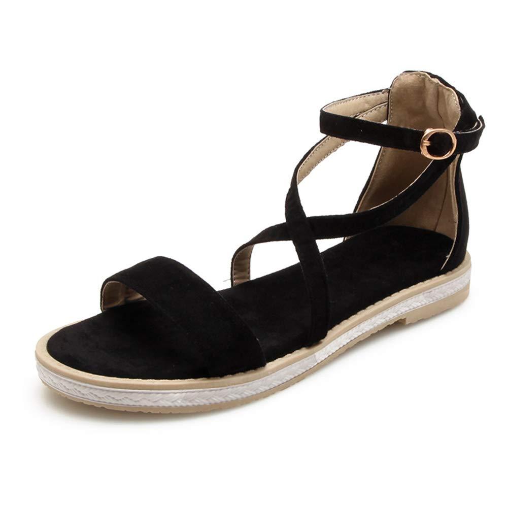 Black HEDDK Summer Women Sandals Casual Student Wild Flat Open Toe Big Buckle with Sandals Beach Sandals Big Size 31-42