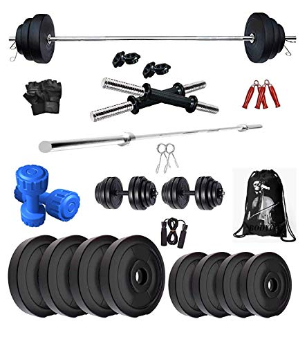 BodyFit Home Gym Combo, Home Gym Set, Gym Equipment, PVC Weight Plates Combo with 4Ft Straight Bar Dumbbell Rods, BLACK Gym Bag with Accessories 8Kg (2KGX4) Set