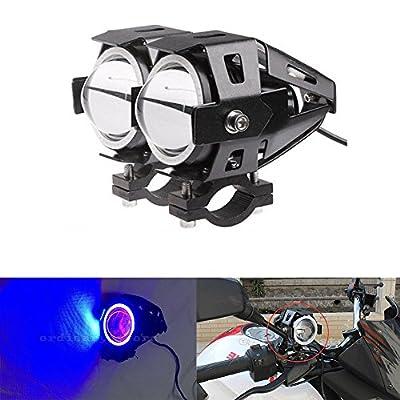 Ronben 2Pcs Cree LED Motorcycle Moto ATV White Spot Fog Light Blue Angel Eye Headlight Lamp