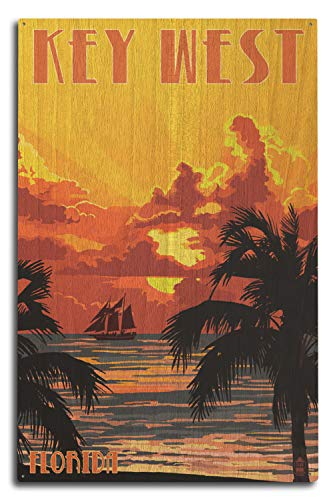 Lantern Press Key West, Florida - Sunset and Ship (10x15 Wood Wall Sign, Wall Decor Ready to Hang)