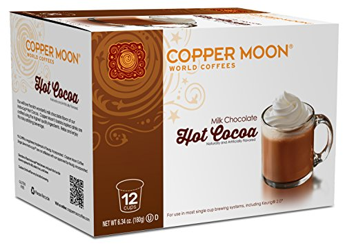 Copper Moon Cocoa Single Serve Pods for Keurig 2.0 K-Cup Brewers, Hot Cocoa, Rich Milk Chocolate Specialty Drink A Great Holiday or Wintery Treat. 12 Count (Calories In Dunkin Donuts Hot Chocolate K Cups)