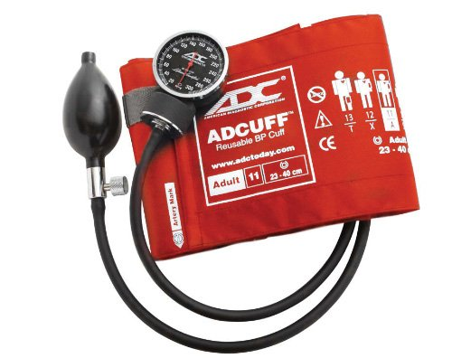 ADC Diagnostix 720 Pocket Aneroid Sphygmomanometer with Adcuff Nylon Blood Pressure Cuff, Adult, Orange