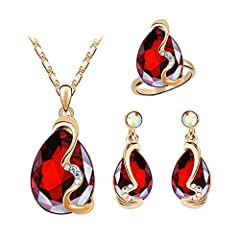 Specifications: Type: Jewelry Set Gender: Women's Theme: Beauty Style: Fashion Material: Alloy, Faux Rhinestone Occasions: Wedding, Evening Party, Banquet, Dating, Club, etc Features: Waterdrop Shape Pendant, Faux Rhinestone Decor, Shiny, Stu...