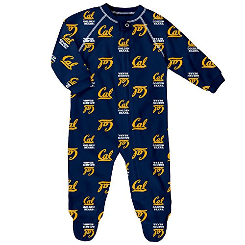 NCAA U Cal Berkeley Newborn Boys Sleepwear All Over Print Zip Up Coveralls, 0-3 Months, Dark Navy